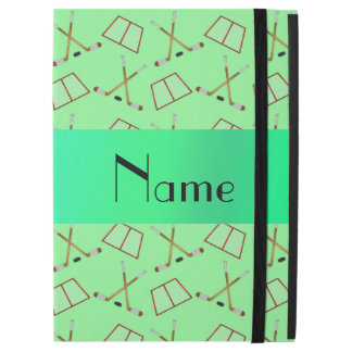 Personalized name light green hockey pattern iPad pro case