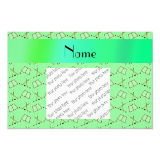 Personalized name light green hockey pattern photographic print