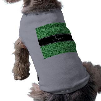 Personalized name light green moroccan quatrefoil pet t shirt