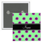 Personalized name light green pink purple flowers 2 inch square button