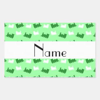 Personalized name light green train pattern sticker