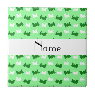 Personalized name light green train pattern tile