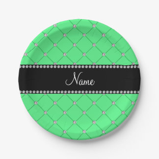 Personalized name light green tuft diamonds 7 inch paper plate