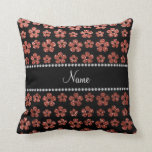 Personalized name light orange glitter flowers pillow