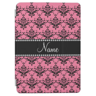 Personalized name light pink black damask iPad air cover