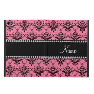 Personalized name light pink black damask powis iPad air 2 case