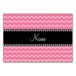 Personalized name light pink chevrons table card