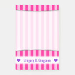 [ Thumbnail: Personalized Name; Light Pink & Deep Pink Stripes Notes ]