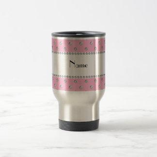 Personalized name light pink diamonds travel mug