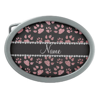Personalized name light pink glitter cat paws oval belt buckles