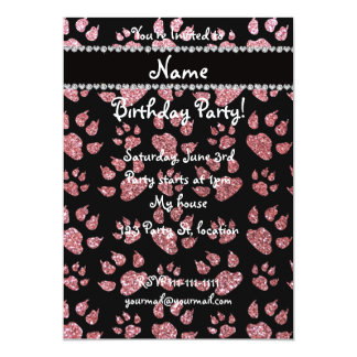 Personalized name light pink glitter cat paws 5x7 paper invitation card