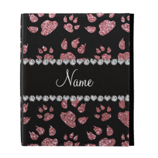 Personalized name light pink glitter cat paws iPad folio cover