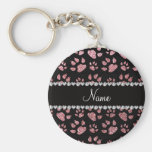 Personalized name light pink glitter cat paws key chains