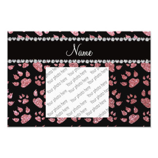 Personalized name light pink glitter cat paws photo art