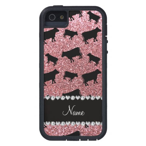 Personalized name light pink glitter cows cover for iPhone 5