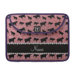 Personalized name light pink glitter cows sleeves for MacBooks