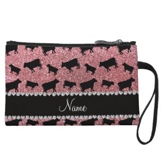 Personalized name light pink glitter cows wristlet