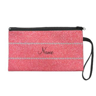 Personalized name light pink glitter diamonds wristlet purse