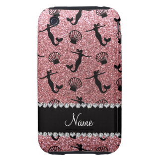 Personalized name light pink glitter mermaids tough iPhone 3 case