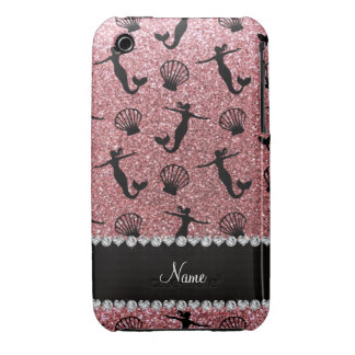 Personalized name light pink glitter mermaids iPhone 3 covers