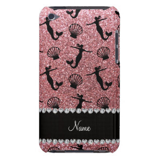 Personalized name light pink glitter mermaids barely there iPod covers