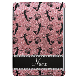 Personalized name light pink glitter mermaids iPad air cover