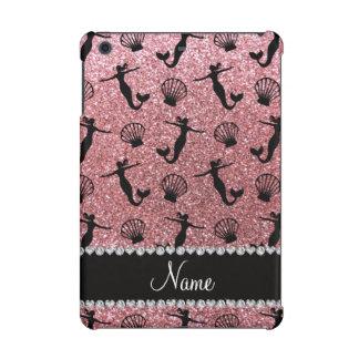 Personalized name light pink glitter mermaids iPad mini cover
