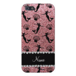 Personalized name light pink glitter mermaids case for iPhone 5