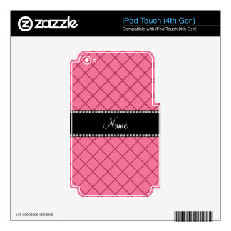 Personalized name light pink grid pattern decals for iPod touch 4G
