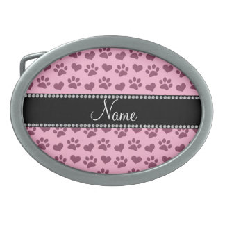 Personalized name light pink hearts and paw prints belt buckles