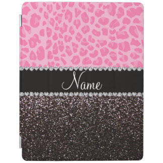 Personalized name light pink leopard black glitter iPad cover
