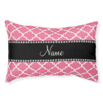 Personalized name light pink moroccan small dog bed