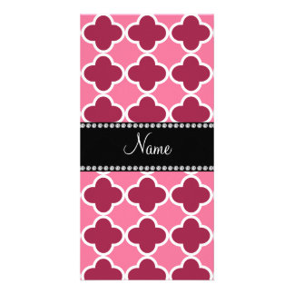Personalized name light pink quatrefoil pattern photo card