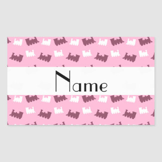 Personalized name light pink train pattern rectangular stickers