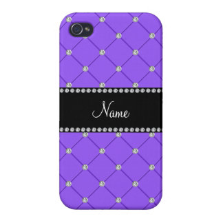 Personalized name Light purple diamonds iPhone 4/4S Cases