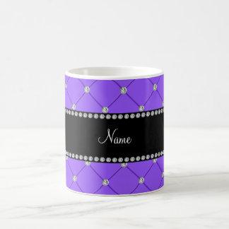 Personalized name Light purple diamonds Coffee Mugs