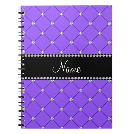Personalized name Light purple diamonds Spiral Notebook