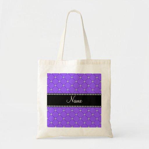 Personalized name Light purple diamonds Tote Bag
