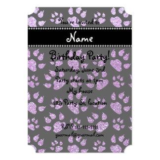 Personalized name light purple glitter cat paws 5x7 paper invitation card