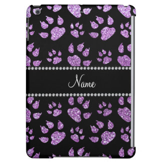 Personalized name light purple glitter cat paws iPad air cover