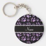 Personalized name light purple glitter cat paws basic round button keychain