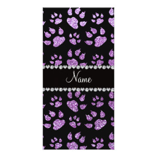 Personalized name light purple glitter cat paws photo card