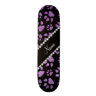 Personalized name light purple glitter cat paws skate decks