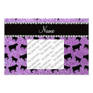 Personalized name light purple glitter cows photo print