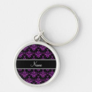 Personalized name light purple glitter damask keychain