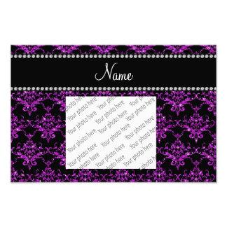 Personalized name light purple glitter damask photo art