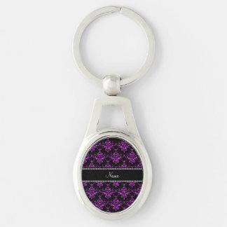 Personalized name light purple glitter damask key chains