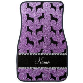 Personalized name light purple glitter dogs car mat