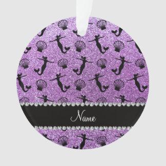 Personalized name light purple glitter mermaids