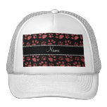 Personalized name light red glitter cat paws hats